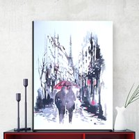 Wholesale Art Abstract Painting Oil Lover - ZZ1859 watercolor canvas prints art abstract lover walking in the rain canvas pictures oil art painting for livingroom bedroom