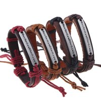 """Wholesale Words Way - New Braided bracelet Fashion English Word """"Where there is a will there is a way"""" Leather Bracelets & Bangles for Women Men Jewelry"""
