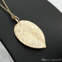 Wholesale Glitter Sweater - Most Popular Leave Pendant Necklace Glittering Long Sweater Chain Gold Unisex Jewelry