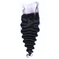 brezilya derin kıvırma 14 saç toptan satış-Derin Dalga Curl Dantel Kapatma Ağartılmış Knot Brezilyalı Derin Kıvırcık İnsan Saç Kapatma Ücretsiz Orta 3 Bölüm 100% İnsan Saç