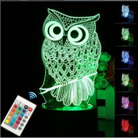 Wholesale Night Light Table Lamps - 2017Hot sale Gifts Touch 3D LED Night Light owl Animal 7 Color Change Table Desk Lamp with Remote Controller