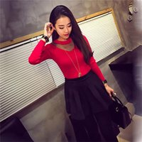 Wholesale Long Blouse Wholesale - Wholesale- Wholesale Women Sexy Mesh Sheer Splicing Pullover Knitted Sweater Long Sleeve Slim Knitwear Base Tops Blouse