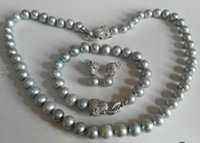 FREE SHIPPING9-10mm Genuine South Seas Silver Grey Pearl Necklace pulseira brincos