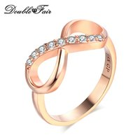 Wholesale Simple Rings For Girls - Simple Elegant Rose Gold Plated Rings CZ Diamond Fashion Jewelry For Women & Girls Gift Wholesale DFR407