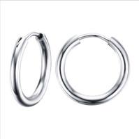 Wholesale Cartilage Earrings Endless Hoop - Stunning Round Small Endless Hoop Earrings For Women Stainless Steel Small Tube Earrings for Cartilage EH-155
