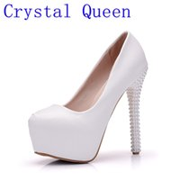 Wholesale Dancing Platform - Crystal Queen New Platform Pearl Lace White Wedding Shoes Women Pumps Party Dance Sexy High Heels Bridal Shoes
