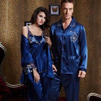 0422 Gorgeous Silk Blend Uomini Donne Donne Sleepwear Pigiama Set Sleep Camicie Maniche lunghe Pantaloni Coppie Amanti Nightclothes Nightie
