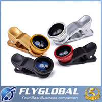 Wholesale Fisheye Lens Photos - Universal Clip on 3 in 1 Cell Phone 180 Degree Fisheye Fish Eye Lens + Wide Angle + Macro Lens Camera Photo For iPhone Samsung Tablet ipad