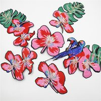 Wholesale Sequins Leaves - Embroidery Patch, A set of Sequins Flowers Leaves Birds For Clothes Embroidered Iron On Patch Stage Clothing Accessory Applique Badge
