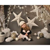 fotografie weihnachten digital backdrops großhandel-Digital gedruckte Sterne Kinder Weihnachten Fotografie Kulissen Vinyl Silber Gold Bälle Neujahr Urlaub Party Kinder Fotostudio Hintergrund