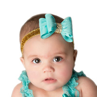 Wholesale Headbands Babies Hard - Wholesale- 16colors Newborn Luxe Hair Flower Bows Matching Glitter Headband Handmade Hard Bow Headbands For Baby Girls Hair Accessories