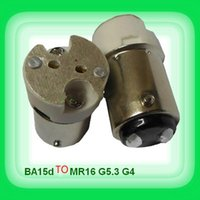 adaptador ba15d al por mayor-Envío gratis Ba15D gire mR16-GU5.3 G4 portalámparas de cerámica adaptador de enchufe adaptador