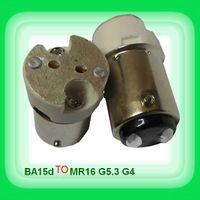 adaptador ba15d venda por atacado-Frete grátis Ba15D virar mR16-GU5.3 G4 adaptador de soquete de lâmpada de cerâmica