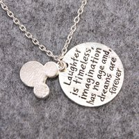 Wholesale Minnie Mouse Friends - Wholesale-Laughter Is Timeless Imagination Has No Age And Dreams Are Forever Lovely Minnie Mouse Pendant Necklace For Girl Friend Gifts