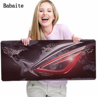 Wholesale White Mousepad - Babaite Print Lock Edge Rubber Mousepad Red and White Republic of Gamers Logo Wallpaper Stitched Edge Speed Up Mousepad