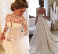 Wholesale Black Bodice Top - 2017 New High Neck Lace Top A Line Wedding Dresses Elegant Illusion Long Sleeves Hollow Back Wedding Bridal Gowns With Long Satin Train