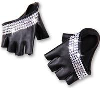 halbfingerhandschuhe großhandel-Großhandels- Art und Weise der Frauen halb Palme halb Finger pu Leder Rhinestone-Handschuhe der Männer fingerless Hip-Hop-Persönlichkeit diy Handschuhe