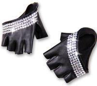Wholesale Wholesale Fingerless Hip Hop Gloves - Wholesale- women's fashion half palm semi- finger pu leather Rhinestone gloves men's fingerless hip-hop personality diy gloves