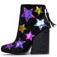 Primavera Bling Bling Pano Sequined Alto grossa Saltos Ankle Boots Voltar Zipper Tassel Shoes Mixed Colors Stars Fringed Pumps bootie