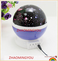 lámpara giratoria para niños al por mayor-YON Romantic Rotating Spin Proyector de Luz Nocturna Niños Niños Bebé Sueño Iluminación Sky Star Moon Master USB Lámpara Led Proyección