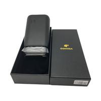 черная коробка для сигарет оптовых-Горячий продавая портативный черный COHIBA Cigar Humidor Leather Cigar Case Cigarette Humidor для курильщика с подарочной коробкой