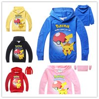 Wholesale Hooded Tshirt Boys - 5 Colors Kids Poke mon Hoddie Pokeball Pikachu printng long sleeve hooded Tshirt for boys and girls Christmas gifts