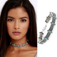 Bohemian Turquoise Pendant Colar Thai Silver Coins Statement Colliers Punk Choker Necklace Vintage Jewelry for Women