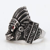 Wholesale European American Fashion Ring - European and American fashion Harley Skull Ring