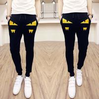 Wholesale Harem Men Korean - Wholesale- Brand Men Pants 2016 New Little Monster Korean Style Casual Slim Fit Mens Joggers Pants Patchwork Men Harem Pants