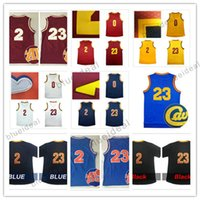 Barato Mangas Para Basquete Basquete-Atacado Men's 23 LeBron 2 Kyrie Irving Juventude James Basketball Jerseys Kid Stitched Kevin Love Throwback Jersey Sleeve Tshirt Tamanho S-XXL