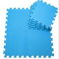 Wholesale Free Floor Puzzle - Free Shiping 1Pack Blue Color Baby Kids EVA Plastic Foam Interlock Crawling Mat Seamed Rug Splice Play Floor Puzzle Mat