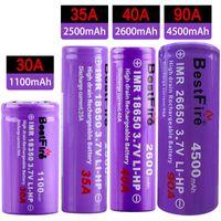 meilleure batterie de feu achat en gros de-Original Bestfire 26650 18650 18350 Meilleur Feu décharge 3.7v Li-ion Batterie Hight Drain Rechargeable Batterie 4500/3000/2600/2500 / 1100mAh