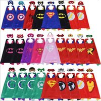 Wholesale Child Layers - Children double layer Superhero capes & mask 2pcs set DHL Shipping over 100 style baby kids cosplay superhero party cape L70*W70cm