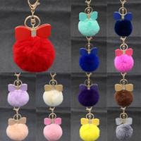 Wholesale Red Car Bows - 3.14 Inch Diamond Bow-knot Fur Ball Keychain Ear Pompom Phone Bag Charm Pendant Women Gift 18 Color C131Q