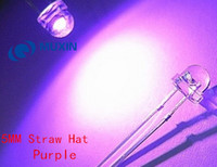 Wholesale white led 5mm straw hat - Wholesale- 20pcs 5mm Straw Hat UV Purple Light Wide Angle Ultraviolet 395nm - 400nm Transparent 5 mm 20mA 3V Light-Emitting Diode LED Lamp