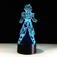 Wholesale christmas tree dropshipping - 3D Goku Monkey King Optical Illusion Lamp Night Light DC 5V USB Powered AA Battery Wholesale Dropshipping Free Shipping