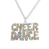 Wholesale Long Best Friend Necklaces - Simple Design Letters of CHEER DANCE Enamel Colorful Crystal Pendant Long Chain Necklace Jewelry Best gifts For Friends