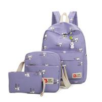 Wholesale Light Purple Canvas Backpack - Sets girl fashionwomen Backpacks Canvas School Bags fluorescence Backpack For Teenager Book bag mochila light bag
