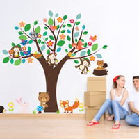 Cartoon Animaux Monkey Bear Fox Hedgehog Oiseaux Grand Tree Wall Sticker Enfants Salle Nursery Décor Papier peint Affiche Decals Decorative Wall Mural