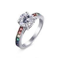 Wholesale Mens Red Diamond Rings - Stainless Steel Jewelry Gemstone Rings for Men Women 2017 Brand Rainbow AAA Zircon Pave Diamond Rings Titanium mens rings