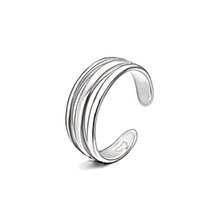 Wholesale Nails Jewerly - Silver Rings Fashion Jewerly Opening Adjustable Three Layer Nail Rings For Men And Women Celebrity RS03888