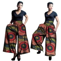 Wholesale Wax Print Cotton Fabric - 2017 New African Fabric Wax Print High Waist Loose Pants Plus Size African Clothes for Women Office Bazin Riche Wide Leg Pants WY1679