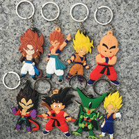 Wholesale Two Ring Pendant - 8pcs set Japanese anime Dragon Ball key ring PVC Soft Key buckle Two-sided Sun Wukong silicone Pendant
