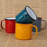 Wholesale Enamel cup Vintage ceramic milk cup Coffee Cup Ceramic Fun Colorful Gift Box lovers cceramic mugs milk