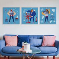 ingrosso grandi pitture di tela per arredamento casa-Moderno Nordic Fumetto Nautico Sailor Canvas Big Art Poster Stampa Immagini A Parete Per Bambini Camera Dei Bambini Home Decor Dipinti No Frame