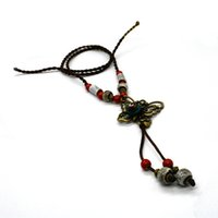 Wholesale Tungsten Ceramic Necklace - 5pcs lot 2017 Hot Sale Bohemia Retro Style Jewelry Antique Gold Red Color Ceramics Beads Ethnic butterfly Long Women Pendant Necklace