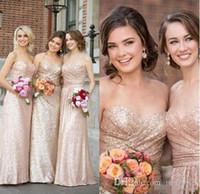 mantel brautkleider trägerlosen schatz groihandel-Schatz-trägerlose Rose Goldsequin Brautjungfernkleider A Line Mantel Kleider für Frauen Günstige Lange bodenlangen Hochzeitsgast Kleid