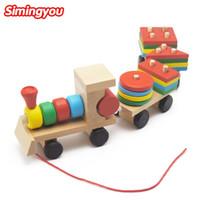 Wholesale Wood Shapes Geometric - Simingyou Small Wooden Train Toys Dragging Three Carriage Geometric Shape Matching Early Childhood Educational Train Set MZW5