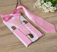Wholesale Ties For Toddlers - Children Suspenders 3pcs Set Kids Student Braces bow tie Set Bowtie Toddler Solid Color Cloth Set For Boys Girls