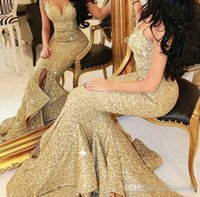 Wholesale New Sweetheart Sequin Crystals Ruffle - New Designer Bling Gold Sequins Mermaid Prom Dresses 2017 Spaghetti Open Back Ruffles Train Arabic Evening Pageant Party Gowns Vestidos De